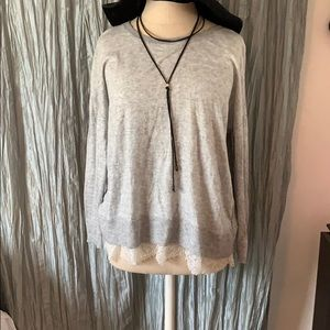 Joie Grey Lace Soft Sweater